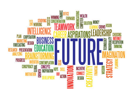 future advertising: business future concept word cloud Illustration
