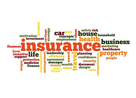 robo de autos: Seguros palabra concepto nube en rojo con grandes términos como auto, casa, viajes y más