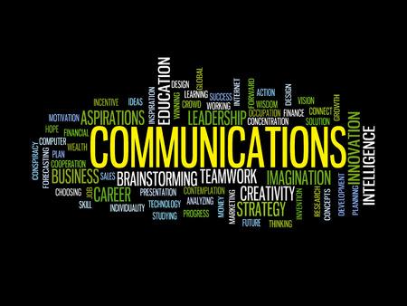 business communication: Communication business strategy concept word cloud