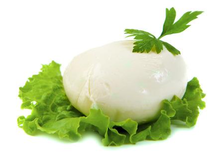 mozzarella cheese: mozzarella cheese on green leaf