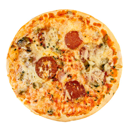 top angle: Tasty pizza with sausage from the top on white background