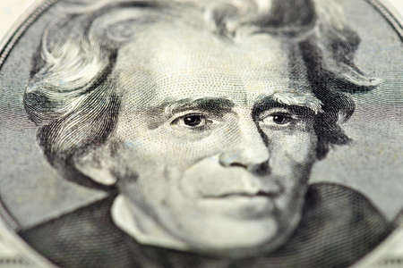 andrew: President Andrew Jackson eyes extreme macro on us 20 dollar bill, united states money closeup Stock Photo