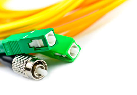 fiber optic cable: Fiber optic cable link plug connector isolated on white