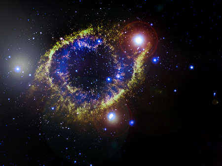 planetary: Helix Nebula (NGC 7293), a planetary nebula located 700 light-years away. Elements of this image furnished by NASA Stock Photo