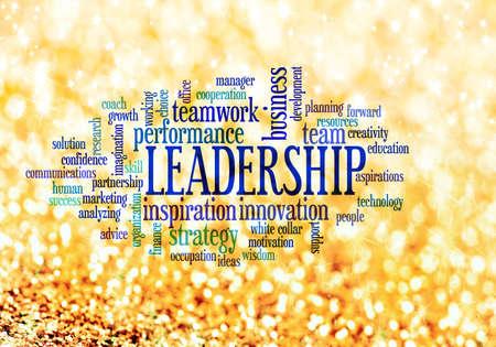 gestion empresarial: Liderazgo texto conceptual nube de palabras Foto de archivo