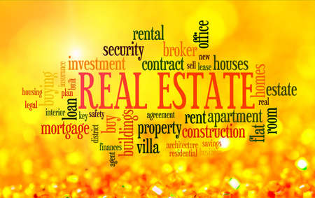housing estate: Buying home issues info-text word cloud on yellow golden background Stock Photo