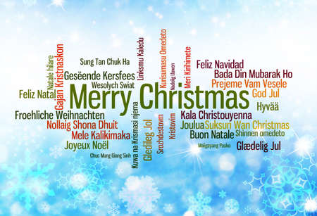 typography: Christmas typography: Merry Christmas written in many languages