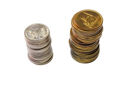 gold bar earn: stack of coins isolated on white Stock Photo