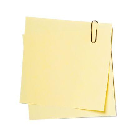 Notities, stickers met clip op wit wordt geïsoleerd Stockfoto