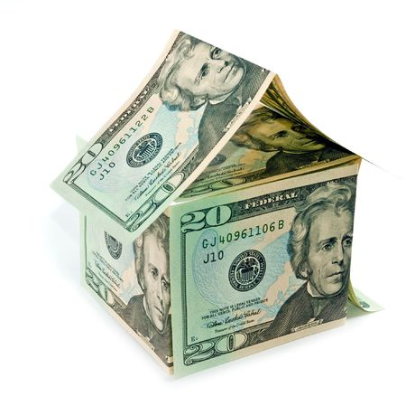 cur: Home, made from dollar bills Stock Photo
