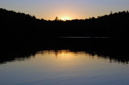 algonquin park: Sunset in beautiful lake in Algonquin Park