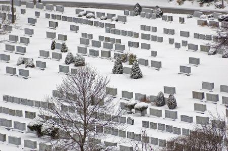 cemetery in winter in snow Stock Photo - 2939032