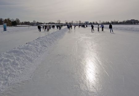 rideau canal: Skaters in ice of Rideau Canal, Ottawa.
