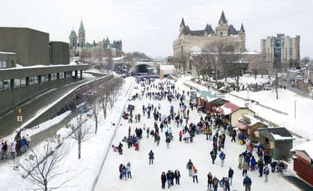 ottawa: Skaters in ice of Rideau Canal, Ottawa.