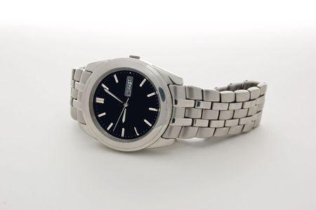 chrome man: wristwatch in white background