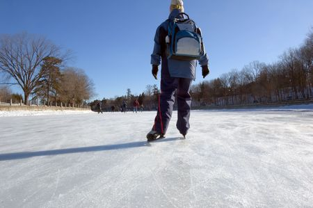 rideau canal: Skaters on ice of Rideau Canal, Ottawa.