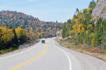 spaciousness: Trans Canada Highway near Superior Lake, Ontario, Canada Stock Photo