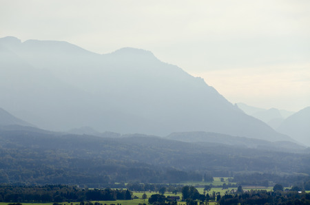 lenticular: Haze between the Alps mountains in fall time