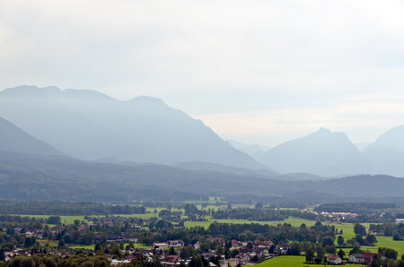 Haze between the Alps mountains in fall time