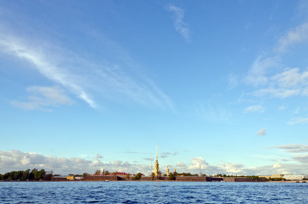 View of St. Petersburg and Neva river in the evening photo