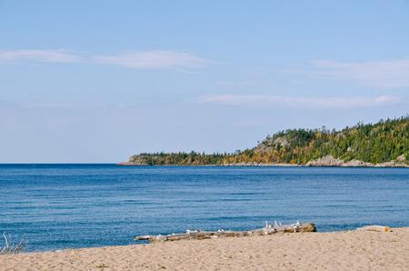 spaciousness: Superior Lake in fall time, Ontario, Canada Stock Photo