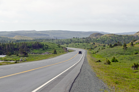 back country: Highway in back country, Newfoundland, Canada Stock Photo