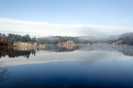 provincial forest parks: Forest lake in Killarney Park during the fall season