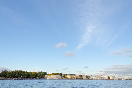 and st petersburg: View of St. Petersburg and Neva river in the evening