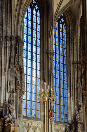 Color glass in window in Church St. Stephan Cathedral - Vienna, Austria