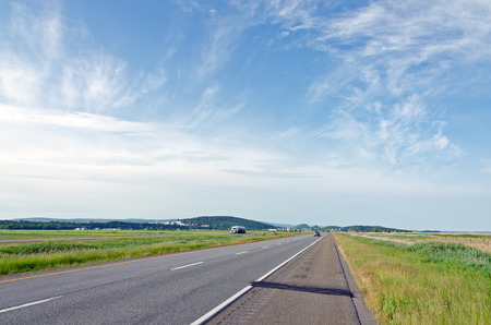 spaciousness: Highway in North part of New Brunswick, Canada Stock Photo