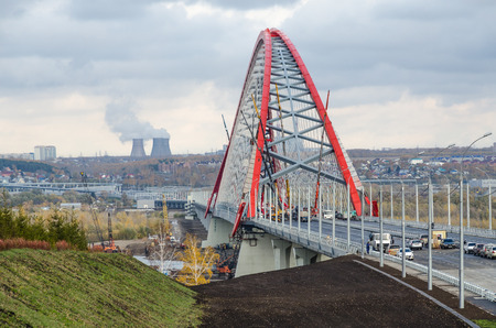 novosibirsk: Construction of arch bridge in Novosibirsk, Russia