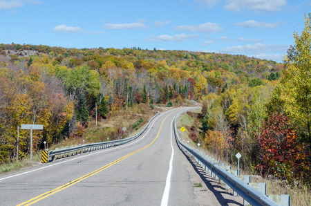 algonquin park: Road in Algonquin Park during the fall season Stock Photo