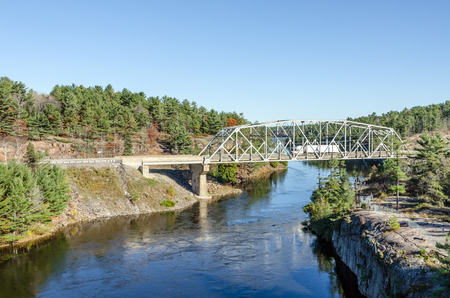 provincial forest parks: French river during the fall season Stock Photo