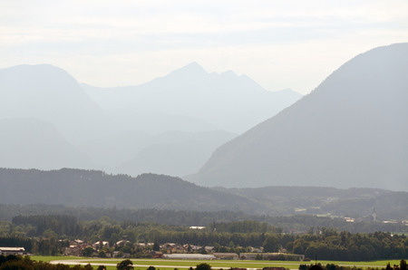 osttirol: Haze between the Alps mountains in fall time