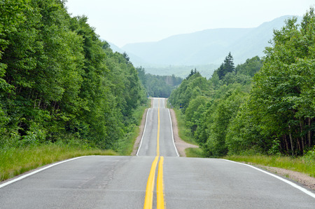 nova scotia: Road through Cape of Breton Highlands national park in Nova Scotia, Canada