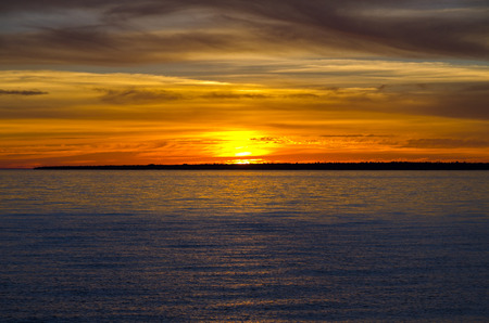 superior: Colorful sunset above the water of Superior Lake, Canada