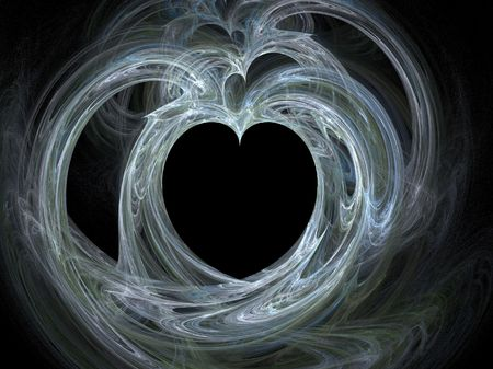 Large single blue heart surrounded by swirls Stock Photo - 718678