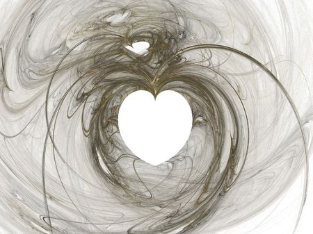 stately: A single white and gold heart surrounded by swirls Stock Photo