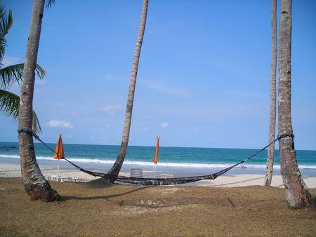 Hammock appendere su due alberi di cocco sulla spiaggia a Bintan, Indonesia