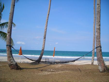 Hammock hang on two coconut trees by the beach at Bintan, Indonesia Stock Photo