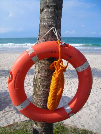 beach buoy: Closeup of life buoy at beach for life saving purposes