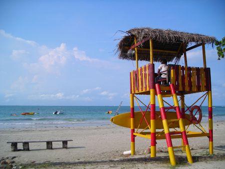 Vita in guardia il posto in spiaggia a garantire che tutto � bene.
