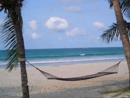 Hammock at beach Bintan Indonesia Stock Photo