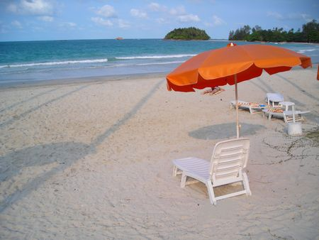 Deck chairs at beach with lots of copyspace Stock Photo
