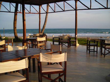 났습니다: Outdoor dining area found at Bintan, Indonesia 스톡 사진
