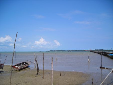 Abandoned boat found by the beact at Bintan indonesia