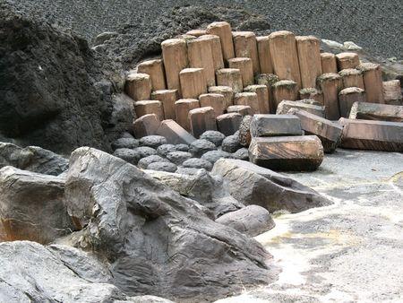 columnar: Giant steps, basalt lava columnar jointing