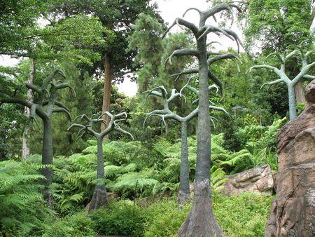 A set of prehistoric and strange trees Stock Photo