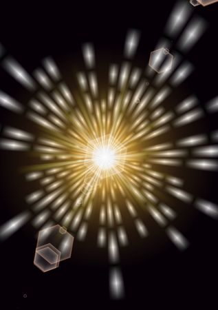 A brilliant burst of glowing golden lights like that of going into outer space