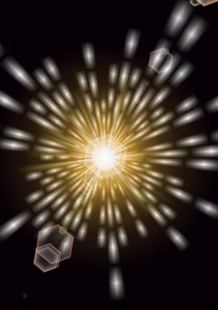 Una brillante scoppio di luci dorate incandescente come quella di andare nello spazio